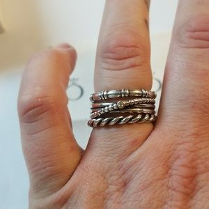 Pandora Stackable Twist Swirling Band Ring Size 9